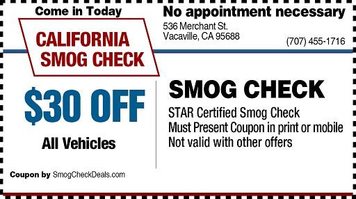 $30 SMOG CHECK COUPON - STAR STATION - (707) 455-1716